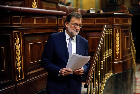 Spain's acting Prime Minister and People's Party (PP) leader Mariano Rajoy attends an investiture debate at parliament in Madrid, Spain August 31, 2016. REUTERS/Andrea Comas