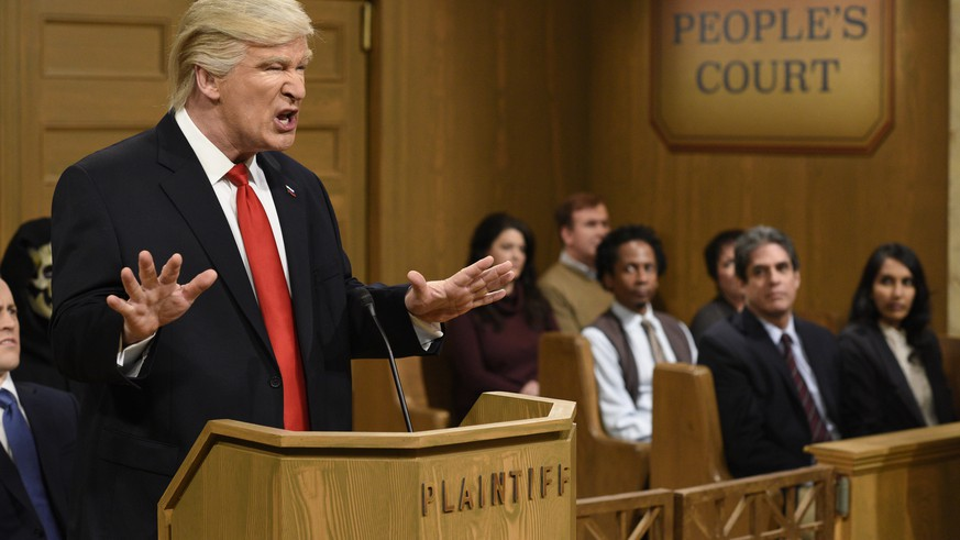 This Saturday, Feb. 11, 2017, image released by NBC shows host Alec Baldwin as President Donald Trump during the