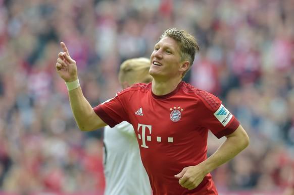 23.05.2015; Muenchen; Fussball Bundesliga - Bayern Muenchen - 1. FSV Mainz 05; Torschuetze Bastian Schweinsteiger (Bayern) jubelt (Thorsten Wagner/Witters/freshfocus)