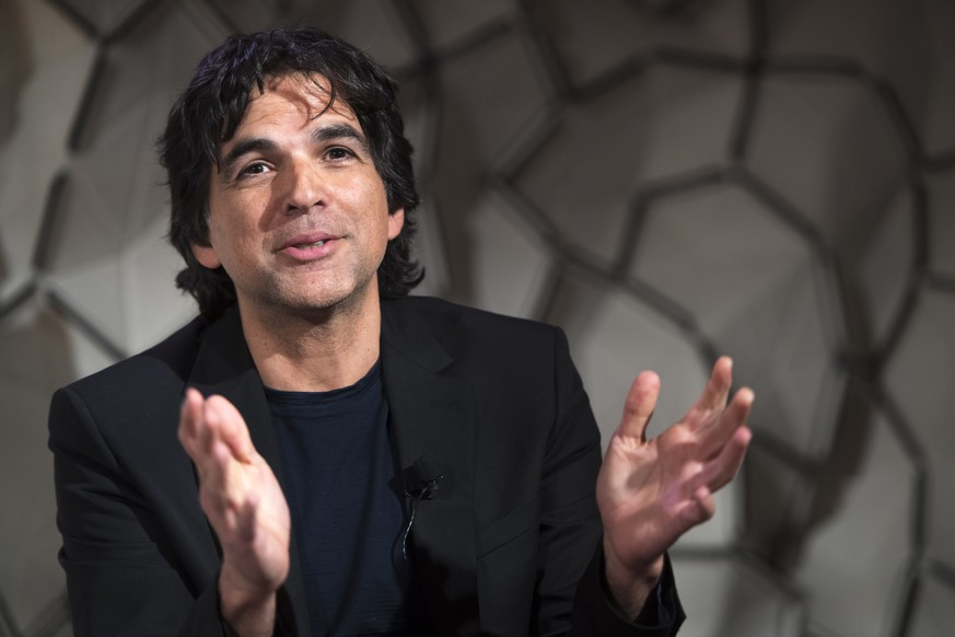 Swiss cartoonist Patrick Chappatte speaks during a panel session during the 49th Annual Meeting of the World Economic Forum, WEF, in Davos, Switzerland, Wednesday, January 23, 2019. The meeting brings together entrepreneurs, scientists, corporate and political leaders in Davos under the topic