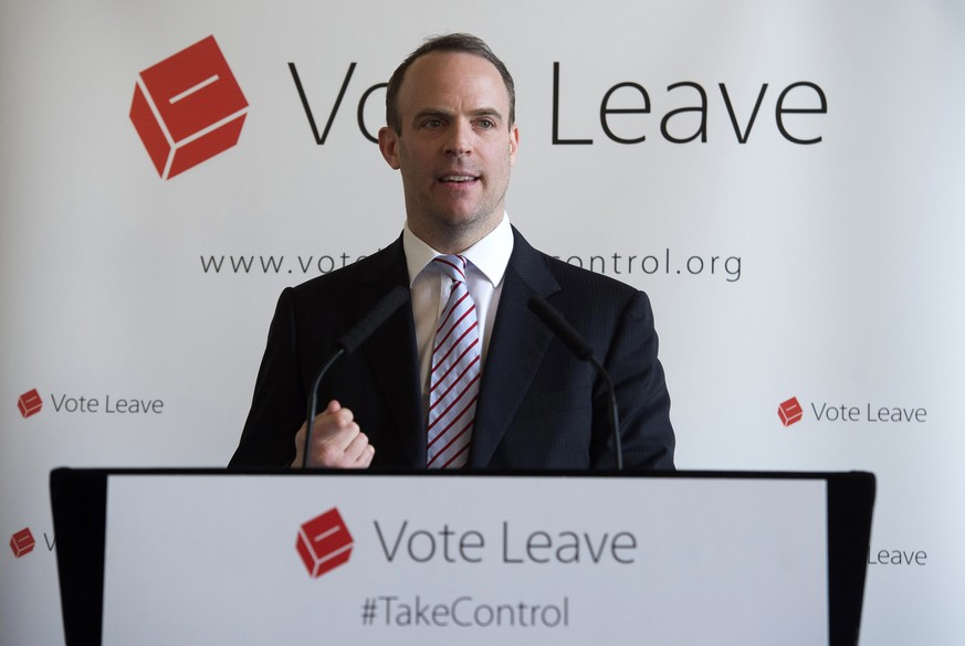epa05236100 Conservative Member of Parliament and Justice Minister Dominic Raab delivers a speech at a 'Vote Leave' event at the Royal Horseguards Hotel, Central London, 30 March 2016. Raab's speech covered the implications for the security of the United Kingdom as well as encouraging Britons to vote to leave the EU on 23 June 2016.  EPA/WILL OLIVER