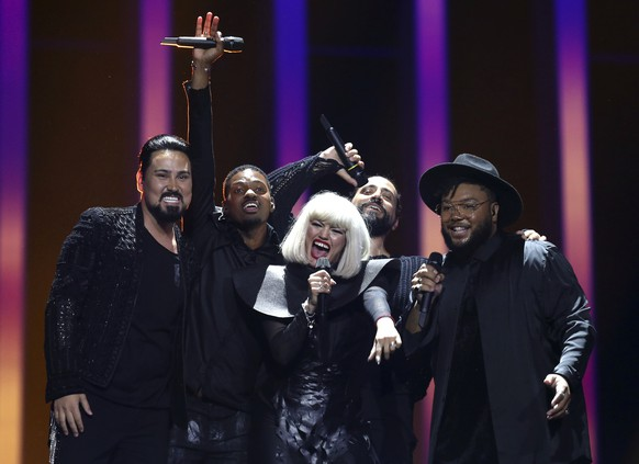 Equinox from Bulgaria performs the song 'Bones' in Lisbon, Portugal, Tuesday, May 8, 2018 during the first semi-final for the Eurovision Song Contest. The Eurovision Song Contest semi-finals take place in Lisbon on Tuesday, May 8 and Thursday, May 10 with the the grand final taking place on Saturday May 12, 2018. (AP Photo/Armando Franca)