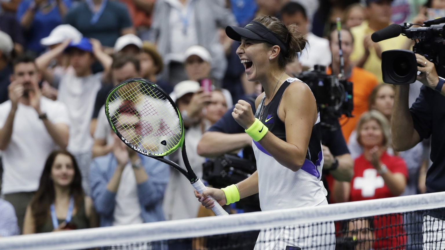 Belinda Bencic, of Switzerland, reacts after defeating Naomi Osaka, of Japan, 7-5, 6-4 during the fourth round of the US Open tennis championships Monday, Sept. 2, 2019, in New York. (AP Photo/Frank Franklin II) Belinda Bencic