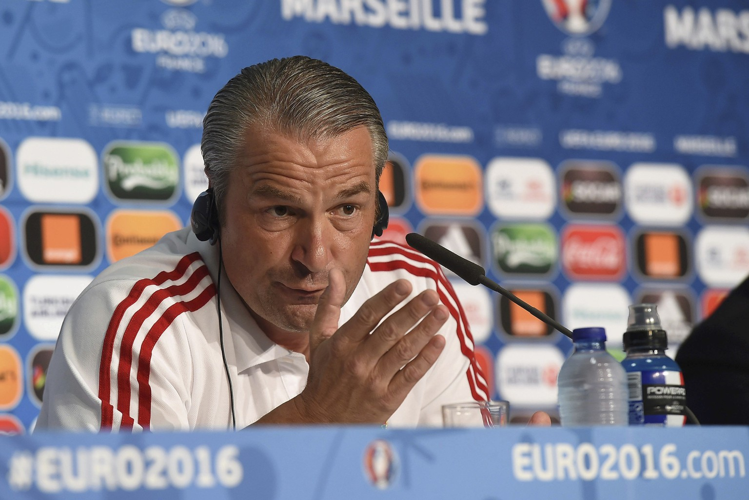 Football Soccer - EURO 2016 - Hungary News Conference - Marseille, France 17/6/16  Hungary's coach Bernd Storck attends a news conference     REUTERS/UEFA/Handout  via REUTERS  NO SALES. NO ARCHIVES. THIS IMAGE HAS BEEN SUPPLIED BY A THIRD PARTY. IT IS DISTRIBUTED, EXACTLY AS RECEIVED BY REUTERS, AS A SERVICE TO CLIENTS.