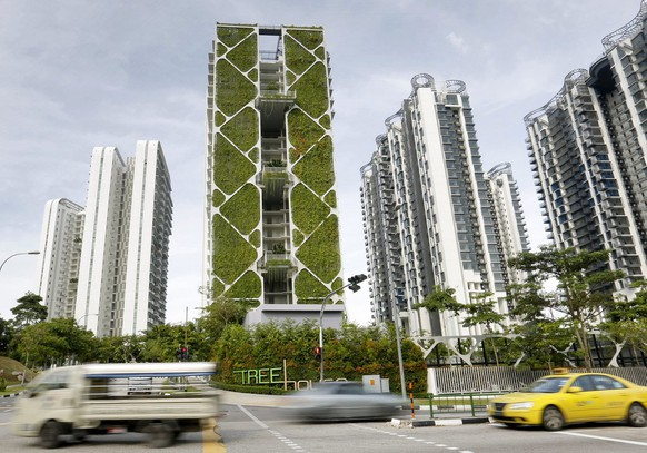 epa04250922 A view of Tree House Condominium, a 24-storey tower that housed the largest vertical garden in the world in Singapore, 12 June 2014. The 2,289 square metres garden that fronts the condominium built by City Developments Limited (CDL) won a Guinness World Record for the largest vertical garden in the world.  EPA/HOW HWEE YOUNG
