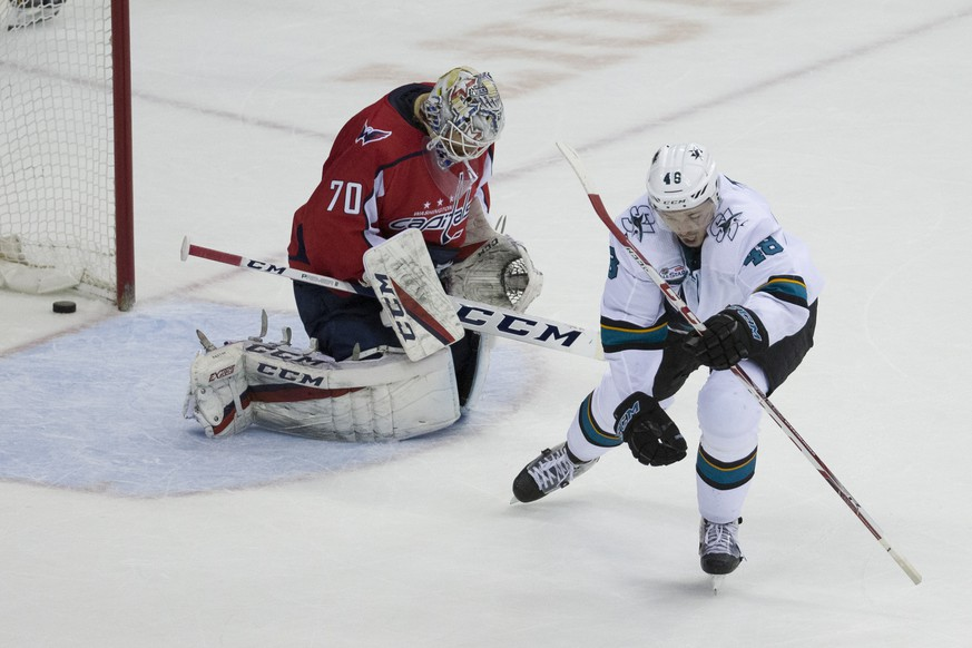 San Jose Sharks center Tomas Hertl (48), from the Czech Republic, celebrates his game-winning goal for a hat trick past Washington Capitals goaltender Braden Holtby (70) in the overtime portion of an NHL hockey game, Tuesday, Jan. 22, 2019, in Washington. The Sharks won 7-6. (AP Photo/Alex Brandon)
