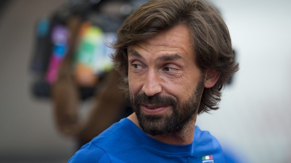 Italy's Andrea Pirlo attends a training session ahead of the Euro 2016 Group H qualifying soccer match between Croatia and Italy, at Poljud Stadium in Split, Croatia, Thursday, June 11, 2015. (AP Photo/Darko Bandic)