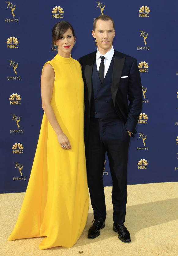 epa07028627 Sophie Hunter (L) and Benedict Cumberbatch (R) arrive for the 70th annual Primetime Emmy Awards ceremony held at the Microsoft Theater in Los Angeles, California, USA, 17 September 2018. The Primetime Emmys celebrate excellence in national prime-time television programming.  EPA/NINA PROMMER