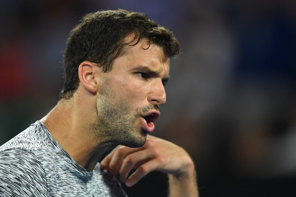 epa05753823 Grigor Dimitrov of Bulgaria reacts during his Men's Singles semifinal match against Rafael Nadal of Spain at the Australian Open Grand Slam tennis tournament in Melbourne, Australia, 27 January 2017.  EPA/LUKAS COCH  AUSTRALIA AND NEW ZEALAND OUT