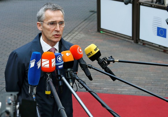 NATO Secretary-General Jens Stoltenberg briefs the media as he arrives at a European defence ministers meeting in Brussels, Belgium, November 15, 2016. REUTERS/Francois Lenoir