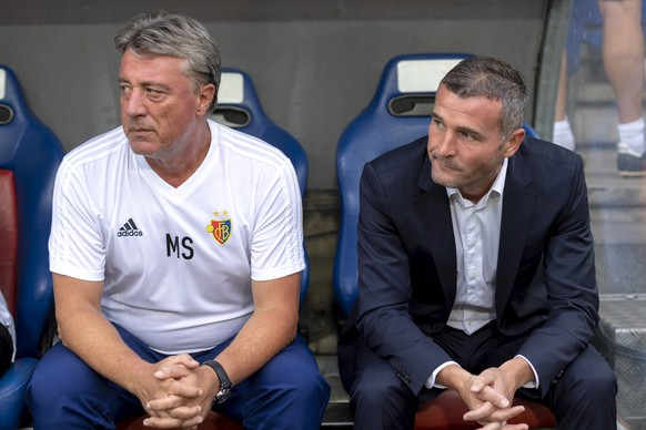 Basel's temporary assistant coach Marco Schaellibaum, left, and temporary head coach Alex Frei, right, during the UEFA Champions League second qualifying round second leg match between Switzerland's FC Basel 1893 and Greece's PAOK FC in the St. Jakob-Park stadium in Basel, Switzerland, on Wednesday, August 1, 2018. (KEYSTONE/Georgios Kefalas)