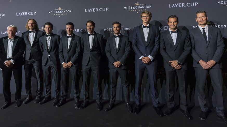 Bjorn Borg, Captain of Team Europe, Stefanos Tsitsipas, Dominic Thiem, Roberto Bautista Agut, Rafael Nadal, Fabio Fognini, Alexander Zverev and Roger Federer of Team Europe and Thomas Enqvist, Vice Captain of Team Europe, pose for photograph on the red carpet at Gala night, during the Laver Cup in Geneva, Switzerland, Thursday, September 19, 2019. The competition will pit a team of the best six European players against the top six from the rest of the world. The Laver Cup edition is scheduled for Sept. 20-22 at the Palexpo in Geneva. The Laver Cup is named after the Australian tennis legend Rod Laver. (KEYSTONE/Martial Trezzini)