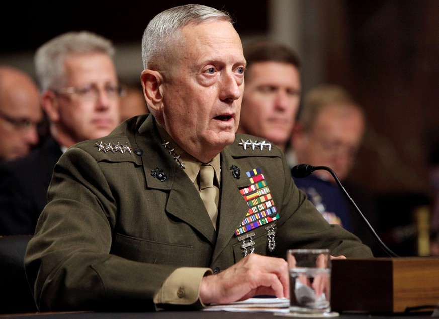 FILE PICTURE: General James Mattis testifies before the Senate Armed Services Committee hearing on Capitol Hill in Washington July 27, 2010, on his nomination to be Commander of U.S. Central Command. REUTERS/Yuri Gripas/File Picture
