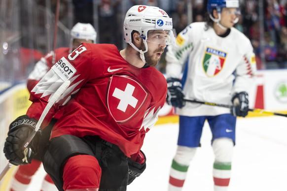 Switzerland's Lino Martschini  celebrater after scoring 3:0 during the game between Switzerland and Italy, at the IIHF 2019 World Ice Hockey Championships, at the Ondrej Nepela Arena in Bratislava, Slovakia, on Saturday, May 11, 2019. (KEYSTONE/Melanie Duchene)