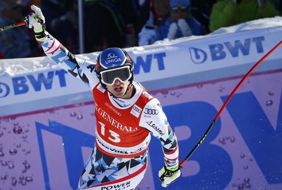 Alpine Skiing - FIS Alpine Skiing World Cup - Men's Super G - Kitzbuehel, Austria - 20/01/17 - Matthias Mayer of Austria reacts at the finish line.  REUTERS/Leonhard Foeger