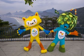 The unnamed mascots of the Rio 2016 Olympic and Paralympic Games are pictured with the Copacabana beach in the background during their first appearance in Rio de Janeiro, November 23, 2014, in this handout courtesy of the Brazil Olympic Committee (COB) These mascots of Rio 2016 Olympic and Paralympic Games are inspired by the Brazilian fauna and flora, and their names will be decided through a public vote, according to the COB.   REUTERS/Alex Ferro/COB/Handout via Reuters (BRAZIL - Tags: SPORT OLYMPICS SOCIETY) ATTENTION EDITORS - THIS PICTURE WAS PROVIDED BY A THIRD PARTY. REUTERS IS UNABLE TO INDEPENDENTLY VERIFY THE AUTHENTICITY, CONTENT, LOCATION OR DATE OF THIS IMAGE. FOR EDITORIAL USE ONLY. NOT FOR SALE FOR MARKETING OR ADVERTISING CAMPAIGNS. THIS PICTURE IS DISTRIBUTED EXACTLY AS RECEIVED BY REUTERS, AS A SERVICE TO CLIENTS