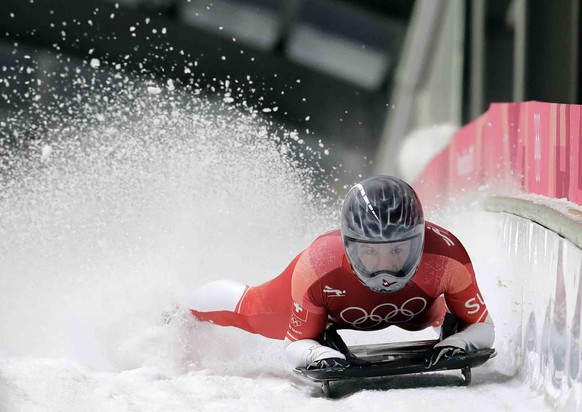 Marina Gilardoni of Switzerland finishes her first run during the women's skeleton competition at the 2018 Winter Olympics in Pyeongchang, South Korea, Friday, Feb. 16, 2018. (AP Photo/Wong Maye-E)