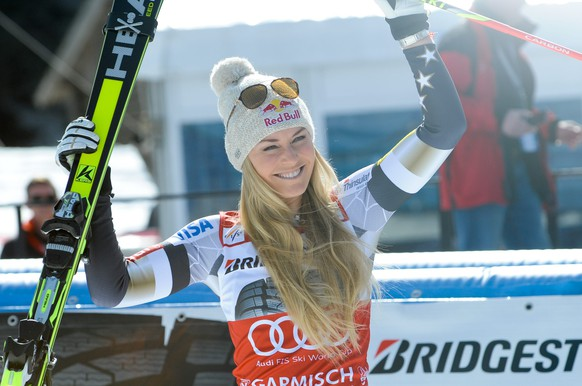 08.03.2015; Garmisch-Partenkirchen; Ski alpin Weltcup - Super-G Frauen; Siegerehrung, im Bild Lindsey Vonn (USA) (Johann Groder/Expa/freshfocus)