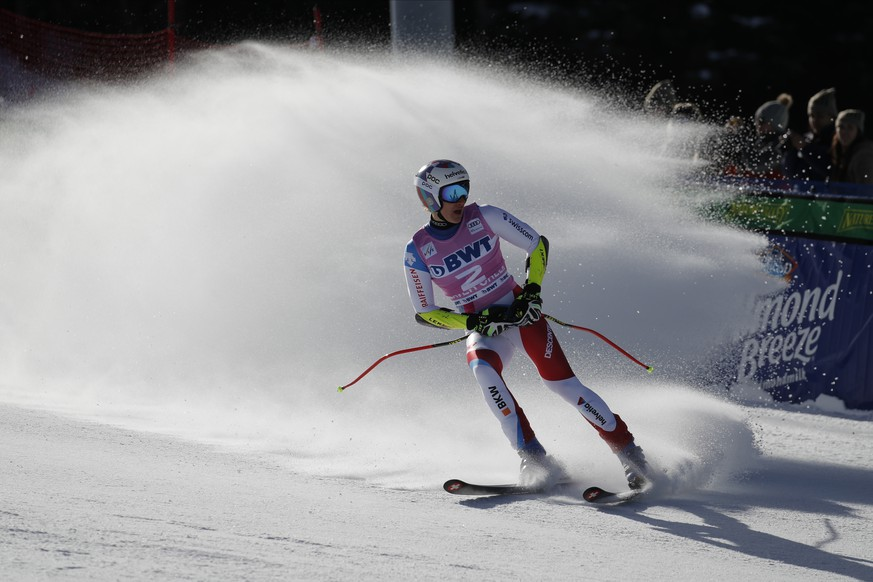 Switzerland's Marco Odermatt finishes a Men's World Cup super-G skiing race Friday, Dec. 6, 2019, in Beaver Creek, Colo. (AP Photo/John Locher)