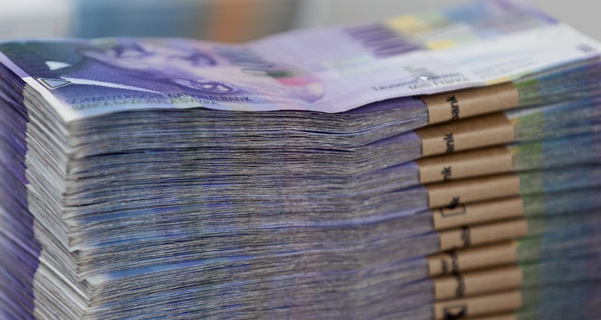 Bundles of bank notes of 1000 Swiss Francs at the bank vault of the