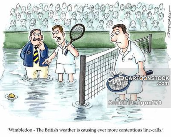 'Wimbledon - The British weather is causing ever more contentious line-calls.'