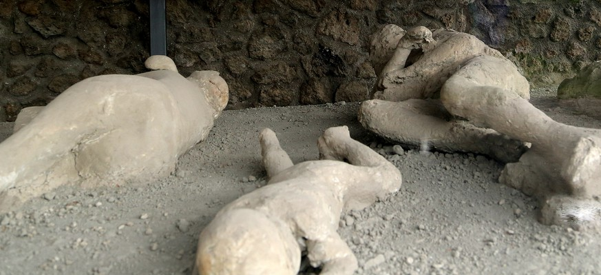 In this May 14, 2014 photo, plaster casts showing victims as they were overcome by the heat and toxic gases of the volcanic eruption of Mount Vesuvius, which in A.D. 79 destroyed the ancient town of Pompeii, near modern-day Naples, Italy. The victims were found in an orchard that came to be known as the Garden of the Fugitives, a reference to the doomed locals' attempts to flee disaster. An estimated 2.5 million people visit the ruins each year. (AP Photo/Michelle Locke)
