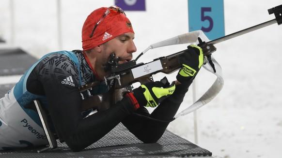 epa06514792 Arnd Peiffer of Germany competes during the Men's Biathlon 10 km Sprint race at the Alpensia Biathlon Centre during the PyeongChang 2018 Olympic Games, South Korea, 11 February 2018.  EPA/ANTONIO BAT