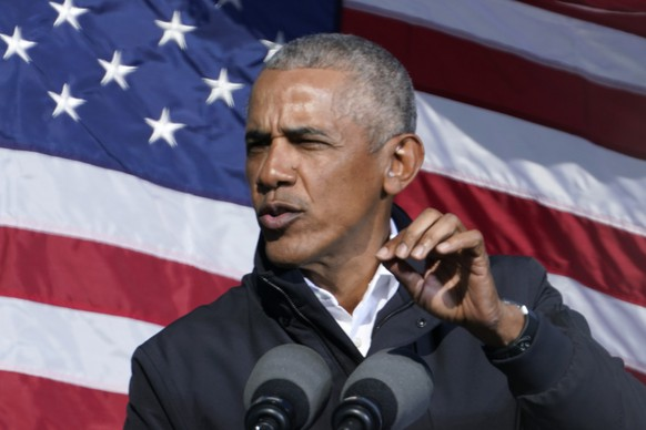 Former President Barack Obama speaks at a rally as he campaigns for Democratic presidential candidate former Vice President Joe Biden, Monday, Nov. 2, 2020, at Turner Field in Atlanta. (AP Photo/Brynn Anderson) Barack Obama