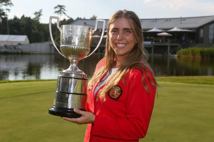 epa07029491 A handout photo made available by the European Golf Association 18 September 2018 of Spanish golfer Celia Barquin Arozamena with the winner's trophy at the . European Ladies' Amateur Championship at Penati Golf Resort, Slovakia, 28 July 2018. Arozamena's body was found on the Coldwater Links Golf Course in Ames, Iowa 17 September 2018 after golfers found her abandoned golf bag in the middle of a fairway.  EPA/EGA HANDOUT  HANDOUT EDITORIAL USE ONLY/NO SALES