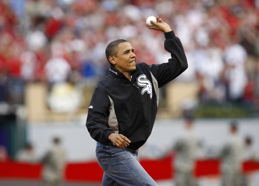 FILE - In this July 14, 2009, file photo, President Barack Obama throws out the ceremonial first pitch during the MLB All-Star baseball game in St. Louis. (AP Photo/Nam Y. Huh, file) Barack Obama