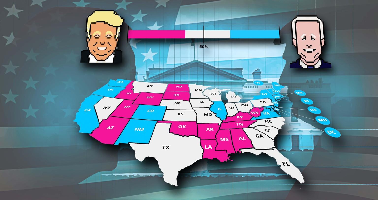 US Wahlen Resultate: So steht es im Rennen um die Präsidentschaft zwischen Donald Trump und Joe Biden in den USA.