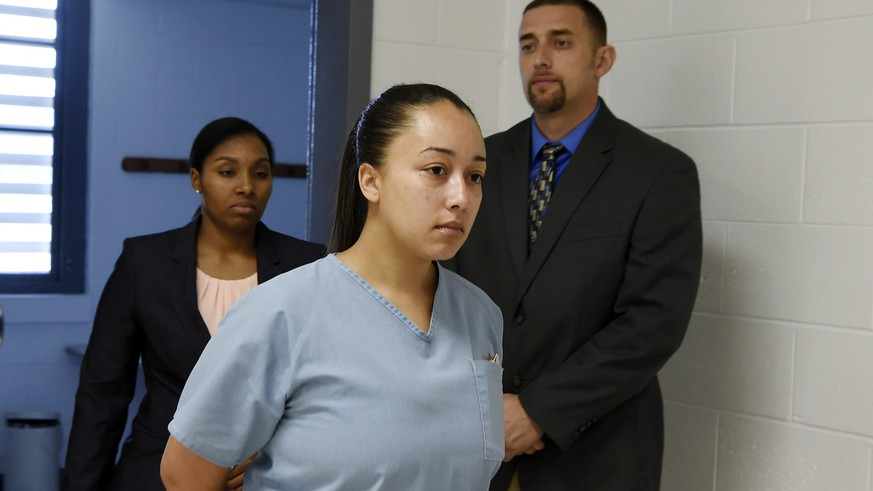 File- This May 23, 2018, file photo shows Cyntoia Brown, entering her clemency hearing at Tennessee Prison for Women in Nashville, Tenn. Tennessee Gov. Bill Haslam on Monday, Jan. 7, 2019, granted executive clemency to Brown, serving a life sentence for murder who says she was a victim of sex trafficking. The outgoing Republican governor, whose term ends in just two weeks, chose to show mercy to the now 30-year-old Brown by releasing her Aug. 7.  (Lacy Atkins /The Tennessean via AP, Pool, File)