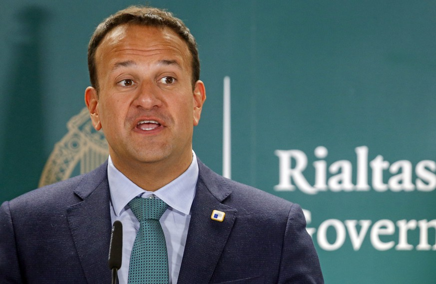 epa08123508 (FILE) - Irish Prime Minister, An Taisoeach Leo Varadkar holds a news conference at the end of a European Council Summit in Brussels, Belgium, 21 June 2019 (reissued 12 January 2020). Reports state that Irish Prime Minister Leo Varadkar on 12 January 2020 suggested to hold snap elections. Varadkar said he wanted to holds talks with his cabinet and with opposition leaders first.  EPA/JULIEN WARNAND *** Local Caption *** 55287925