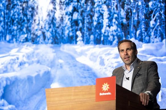 Martin Nydegger, Direktor Schweiz Tourismus spricht an der Wintermedienkonferenz der Schweizer Tourismusbranche am Montag, 23. November 2020 in Zuerich. Die Direktoren von Seilbahnen Schweiz, HotellerieSuisse, GastroSuisse und Swiss Snowsports zeigen ihre Umsetzungen der Schutzkonzepte. (KEYSTONE/Ennio Leanza)