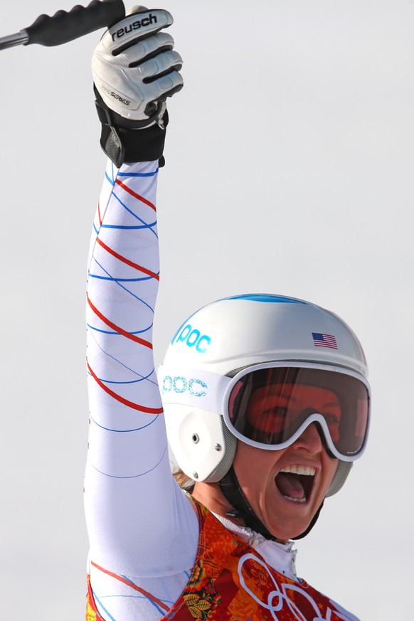 SOCHI, RUSSIA - FEBRUARY 10:  Julia Mancuso of the United States jubilates during the Alpine Skiing Women's Super Combined Downhill on day 3 of the Sochi 2014 Winter Olympics at Rosa Khutor Alpine Center on February 10, 2014 in Sochi, Russia.  (Photo by Alexander Hassenstein/Getty Images)