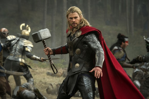 This publicity photo released by Walt Disney Studios and Marvel shows Chris Hemsworth in a scene from