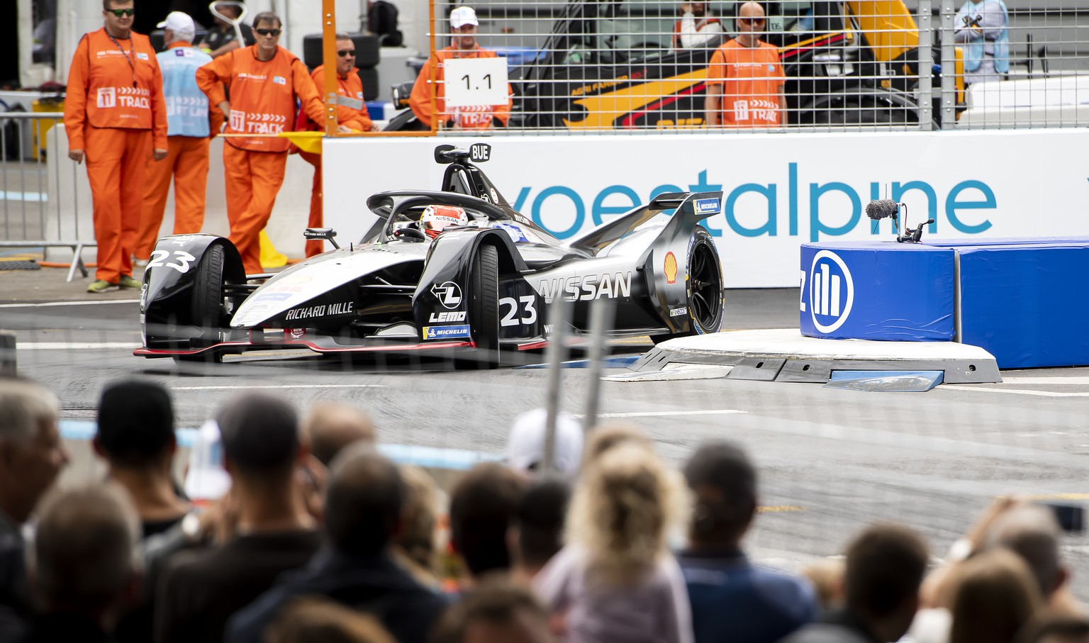 Swiss driver Sebastien Buemi, Nissan e.dams, competes during the second training session at the Bern E-Prix, the eleventh stage of the ABB FIA Formula E championship, in Bern Switzerland, Saturday, June 22, 2019. (KEYSTONE/Anthony Anex)