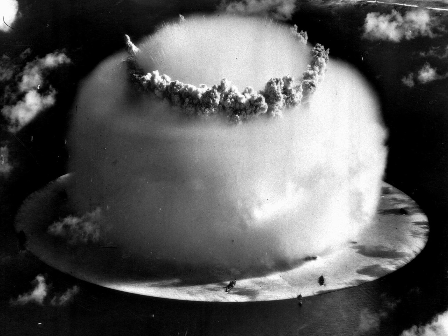 A huge mushroom cloud rises above Bikini atoll in the Marshall Islands July 25, 1946 following an atomic test blast, part of the U.S. military's