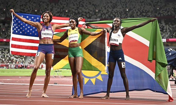 <strong>Leichtathletik, Frauen, 200 m </strong>Gold: Elaine Thompson-Herah (JAM) Silber: Christine Mboma (NAM) Bronze: Gabrielle Thomas (USA)