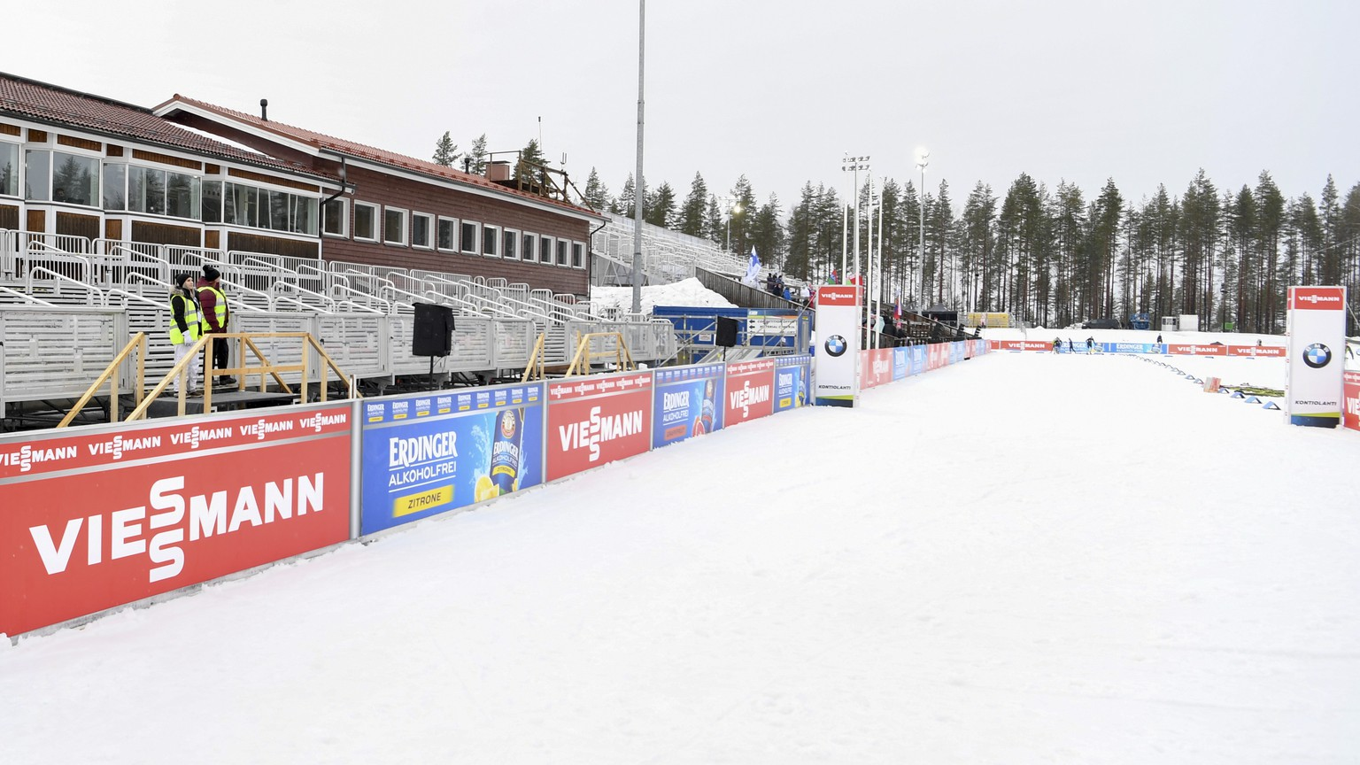 epa08289293 Empty grandstand in Kontiolahti before the men's 10 km Sprint competition of the IBU Biathlon World Cup in Kontiolahti, Finland, 12 March 2020. The International Biathlon Union (IBU) has taken note of the recommendation by the Finnish Government and health authorities to cancel all events with more than 500 participants. The IBU and the Kontiolahti Organising Committee and Finnish Biathlon Federation together with the authorities of the municipality of Kontiolahti and the City of Joensuu will fully implement the recommendations made by the Finnish government this afternoon and close the event for the public from today, 12 March 2020. Moreover, the number of people involved at the venue at the same time will be reduced to below 500 to guarantee that the competitions can go ahead as planned until 15 March. The competition schedule for Kontiolahti will not change.  EPA/KIMMO BRANDT