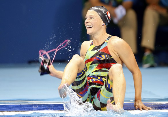 Martina VAN BERKEL of Switzerland reacts after competing in the women's 200m Butterfly Heats during the swimming competitions at the 2016 Summer Olympics, Tuesday, Aug. 9, 2016, in Rio de Janeiro, Brazil. (KEYSTONE/Patrick B. Kraemer)