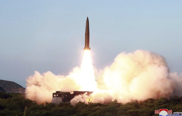 FILE - This July 25, 2019, file photo provided by the North Korean government shows a test of a missile launch in North Korea. North Korea on Friday, Aug. 9, 2019 said that its rubber-stamp parliament will hold its second meeting of the year on Aug. 29. It follows weeks of intensified North Korean weapons tests and belligerent statements over U.S.-South Korea military exercises and the slow pace of nuclear negotiations with the United States.Independent journalists were not given access to cover the event depicted in this image distributed by the North Korean government. The content of this image is as provided and cannot be independently verified. Korean language watermark on image as provided by source reads: