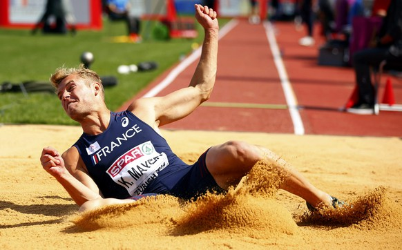 Kevin Mayer of France competes  in the men's long jump decathlon during the Zurich 2014 European Athletics Championships at the Letzigrund Stadium in Zurich August 12, 2014.  REUTERS/Phil Noble (SWITZERLAND  - Tags: SPORT ATHLETICS)