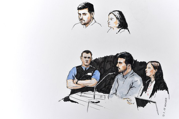epa06600470 A drawing shows Thomas N. (L) and Renate Senn (R), a public defender, during the trial for the quadruple murder of Rupperswil in Schafisheim, Switzerland, 13 March 2018. Thomas N. is accused of the murder of four people, a woman, two boys and a girl with a knife, on 21 December 2015 in a family home in Rupperswill.  EPA/WALTER BIERI