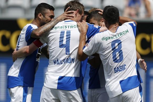 19.07.2015; Thun; Fussball Super League - FC Thun - Grasshopper Club Zuerich: Jubel bei GC nach dem Tor zum 1:4. (Christian Pfander/freshfocus)