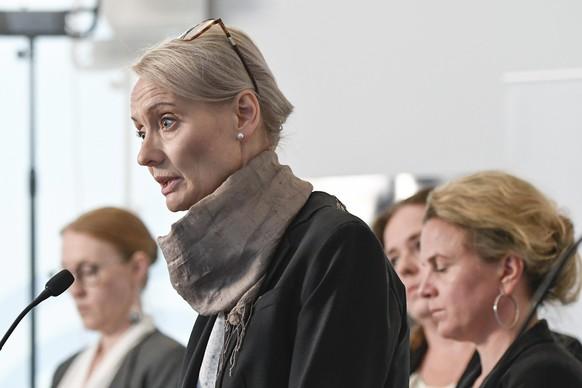 Karin Tegmark Wisell, spokesperson for the Swedish Public Health agency holds a news conference on the COVID-19 coronavirus, is Stockholm, Sweden, Tuesday May 26, 2020.  The public health agency gives a daily update on the coronavirus situation. (Janerik Henriksson / TT via AP)