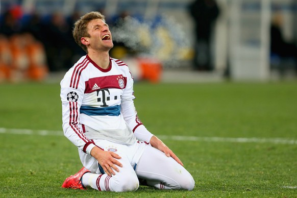 LVIV, UKRAINE - FEBRUARY 17:  Thomas Muller of Bayern Muenchen reacts during the UEFA Champions League round of 16 first leg match between FC Shakhtar Donetsk and FC Bayern Muenchen at the Donbass Arena on February 17, 2015 in Lviv, Ukraine.  (Photo by Alexander Hassenstein/Bongarts/Getty Images)