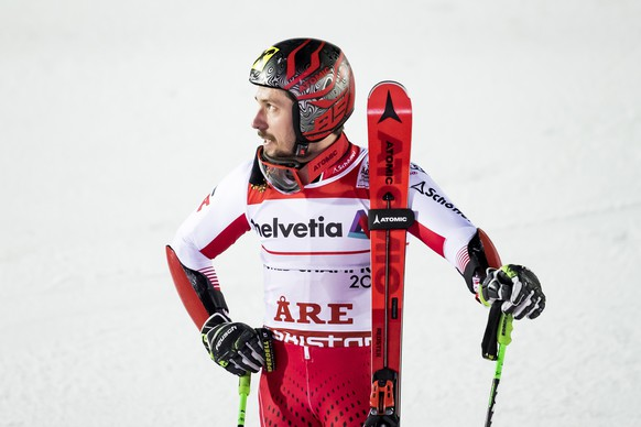epa07373315 Marcel Hirscher of Austria reacts in the finish area during the second run of the men's Giant Slalom at the 2019 FIS Alpine Skiing World Championships in Are, Sweden, 15 February 2019.  EPA/JEAN-CHRISTOPHE BOTT