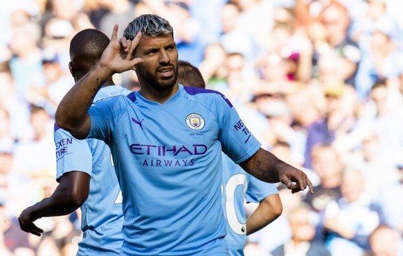 epa07859236 Manchester City's Sergio Aguero celebrates scoring the 2-0 lead from the penalty spot during the English Premier League soccer match between Manchester City and Watford FC in Manchester, Britain, 21 September 2019.  EPA/PETER POWELL EDITORIAL USE ONLY. No use with unauthorized audio, video, data, fixture lists, club/league logos or 'live' services. Online in-match use limited to 120 images, no video emulation. No use in betting, games or single club/league/player publications