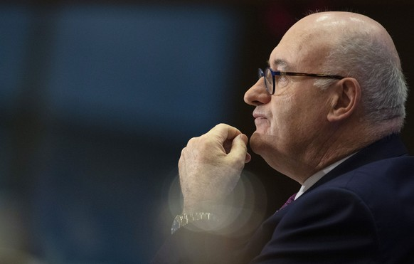 European Commissioner designate for Trade Phil Hogan answers questions during his hearing at the European Parliament in Brussels, Monday, Sept. 30, 2019. (AP Photo/Virginia Mayo) Phil Hogan